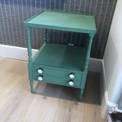 Antique Green End/Side Table With Milk glass Knobs Thumbnail