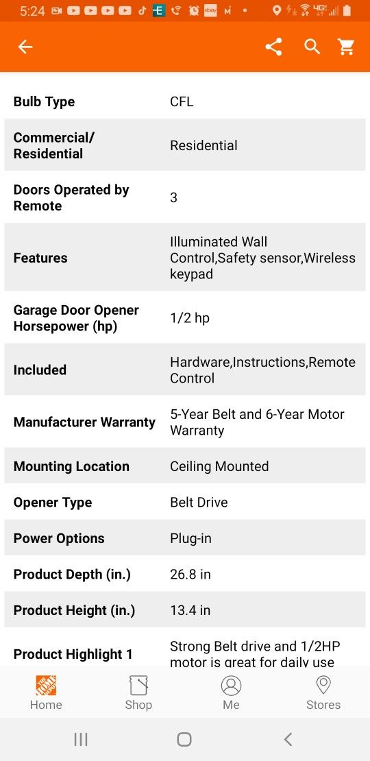 Chamberlain 1/2 HP Equivalent AC Belt Drive Smart Garage Door Opener with Medium Lifting Power With WiFi Options To Control From Phone