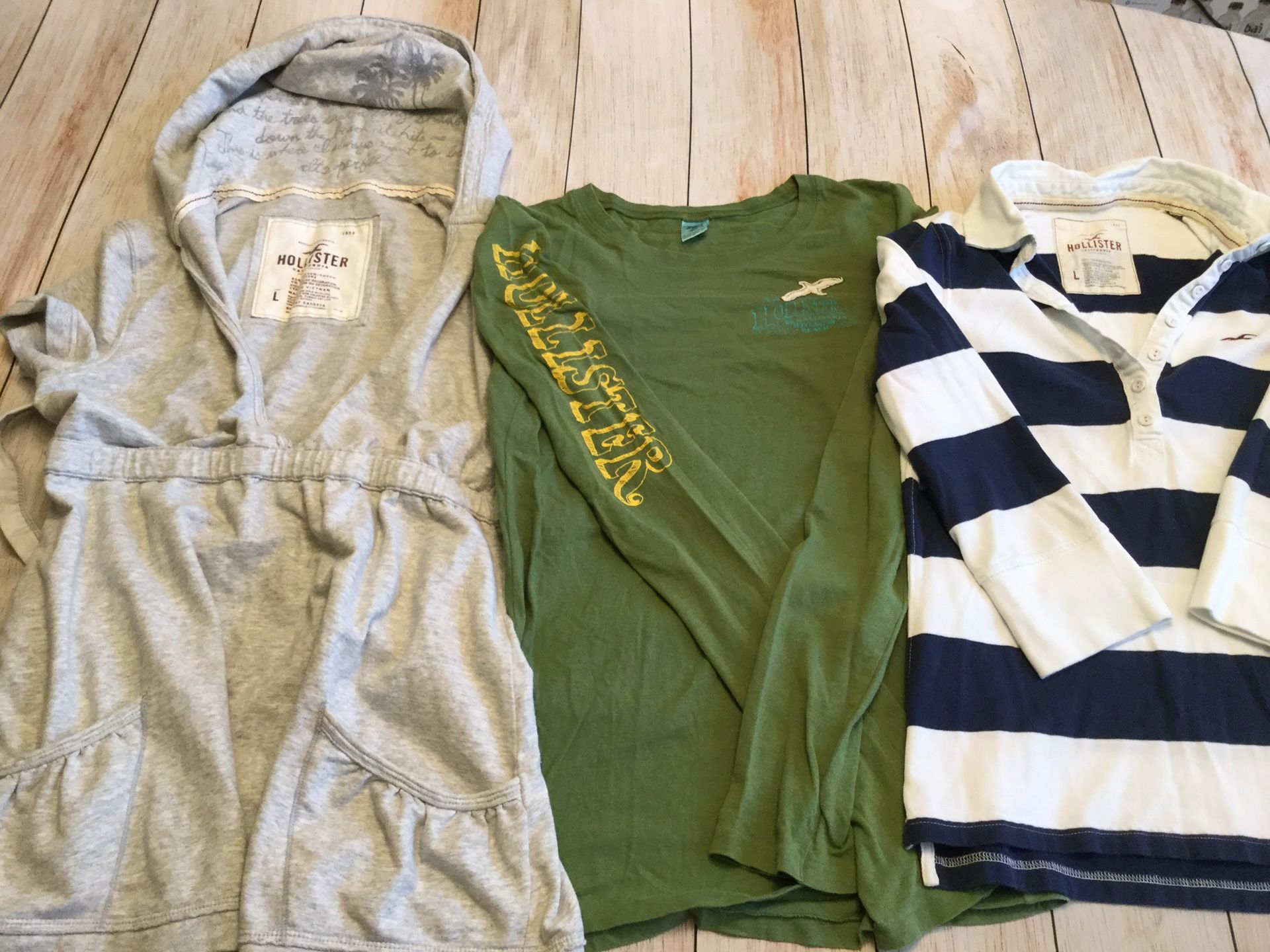 Hollister bundle — Lot of 3 - gray hoodie, green long sleeve & Navy/white stripe (Jr's Lg)
