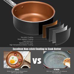 Costway 12 Piece Nonstick Cookware Set Copper Pots Pans Set Thumbnail