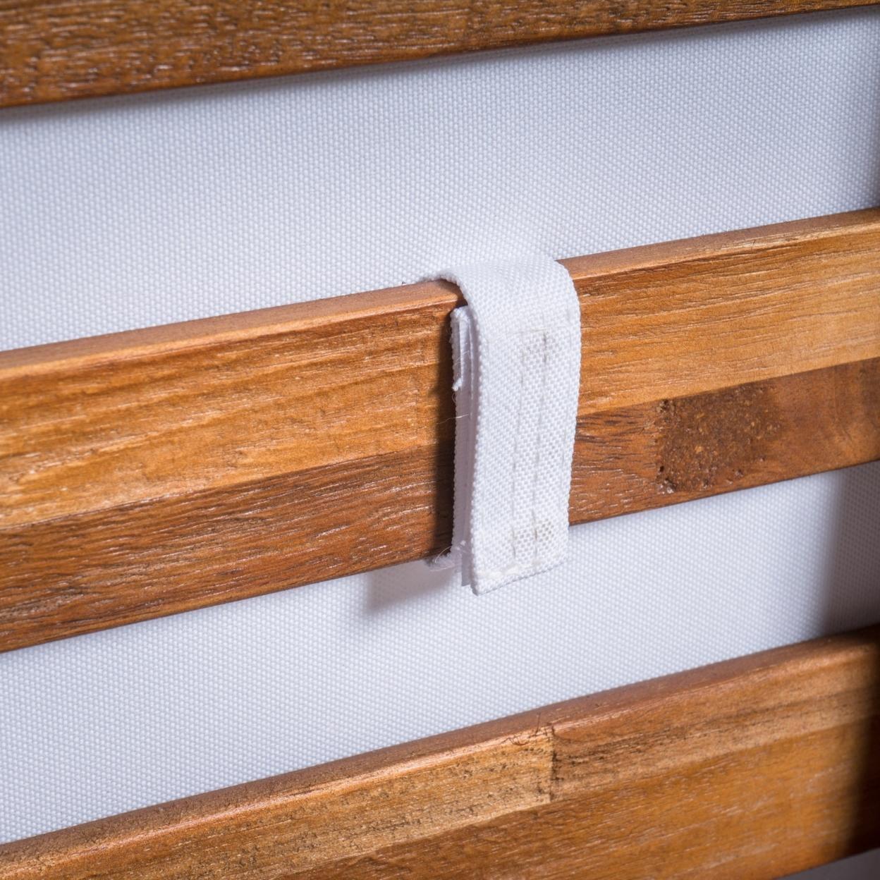 Ellison Indoor Minimalist V Shaped 4 Piece Sandblast Finished Acacia Wood Sectional Sofa Set with White Cushions