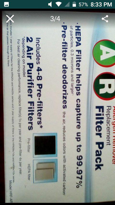 Honeywell air purifier filter pack. HEPA filters