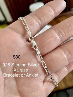 925 Sterling Silver Xl Bracelet/ Anklet? $30 Firm Thumbnail