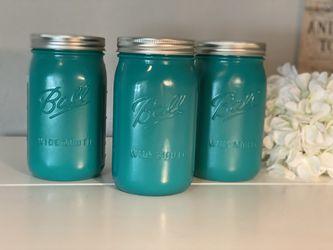 Set of three hand painted mason jars Thumbnail