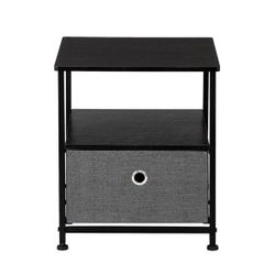 Nightstand 1-Drawer Shelf Storage- Bedside Furniture & Accent End Table Chest For Home, Bedroom, Office, College Dorm, Thumbnail