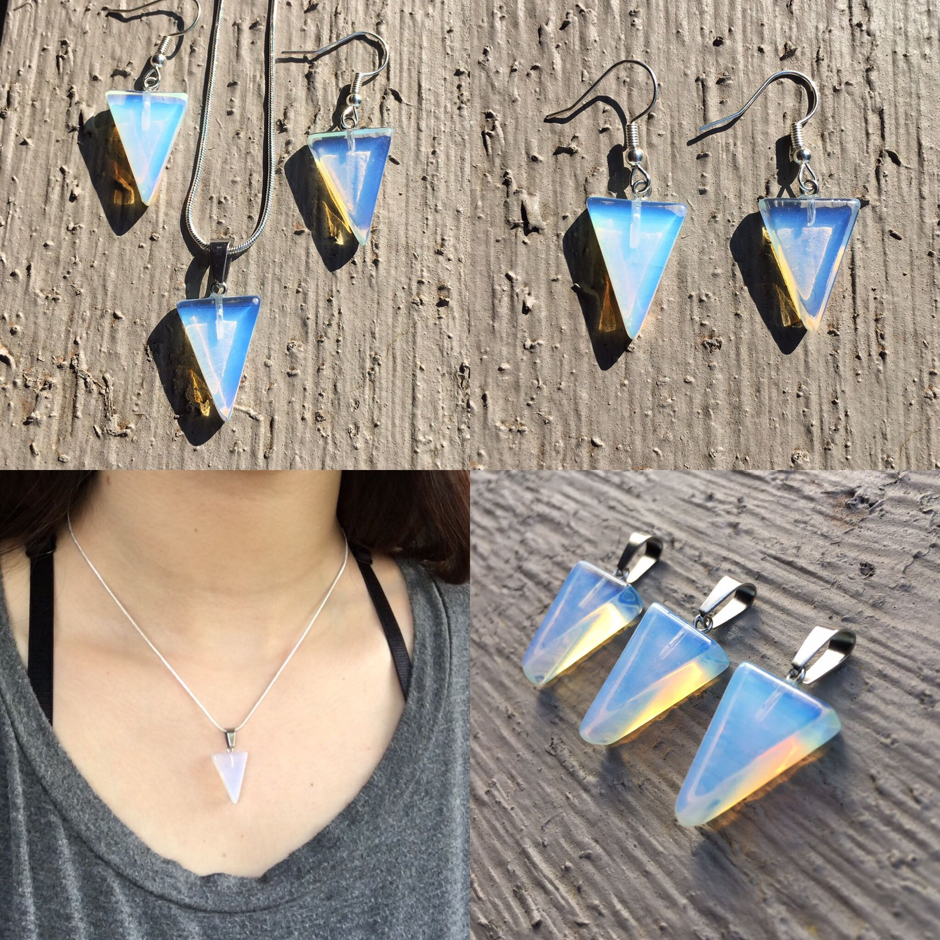 Sea Opal Moonstone Triangle Pendant Necklace and Matching Earrings // Opal Glass Opalite Jewelry // Healing Crystal Necklace
