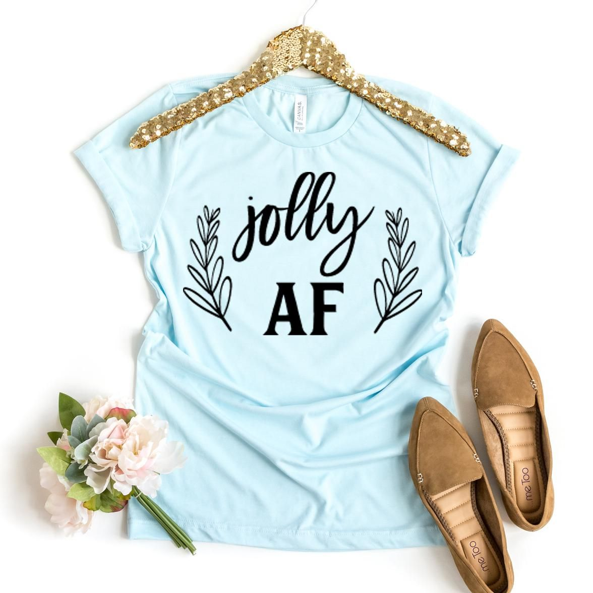 Jolly AF T-shirt, Celebration Gift, Family Tshirt, Festive Shirt, Party Shirts, Xmas Party Top, Holiday Tee, Vacation Size Large