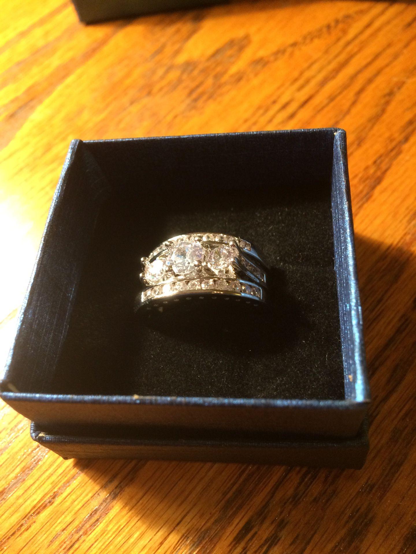 3 piece wedding ring set silver size 9
