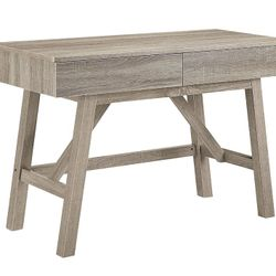 Rectangular Wooden Desk with Two Storage Drawers, Gray Thumbnail
