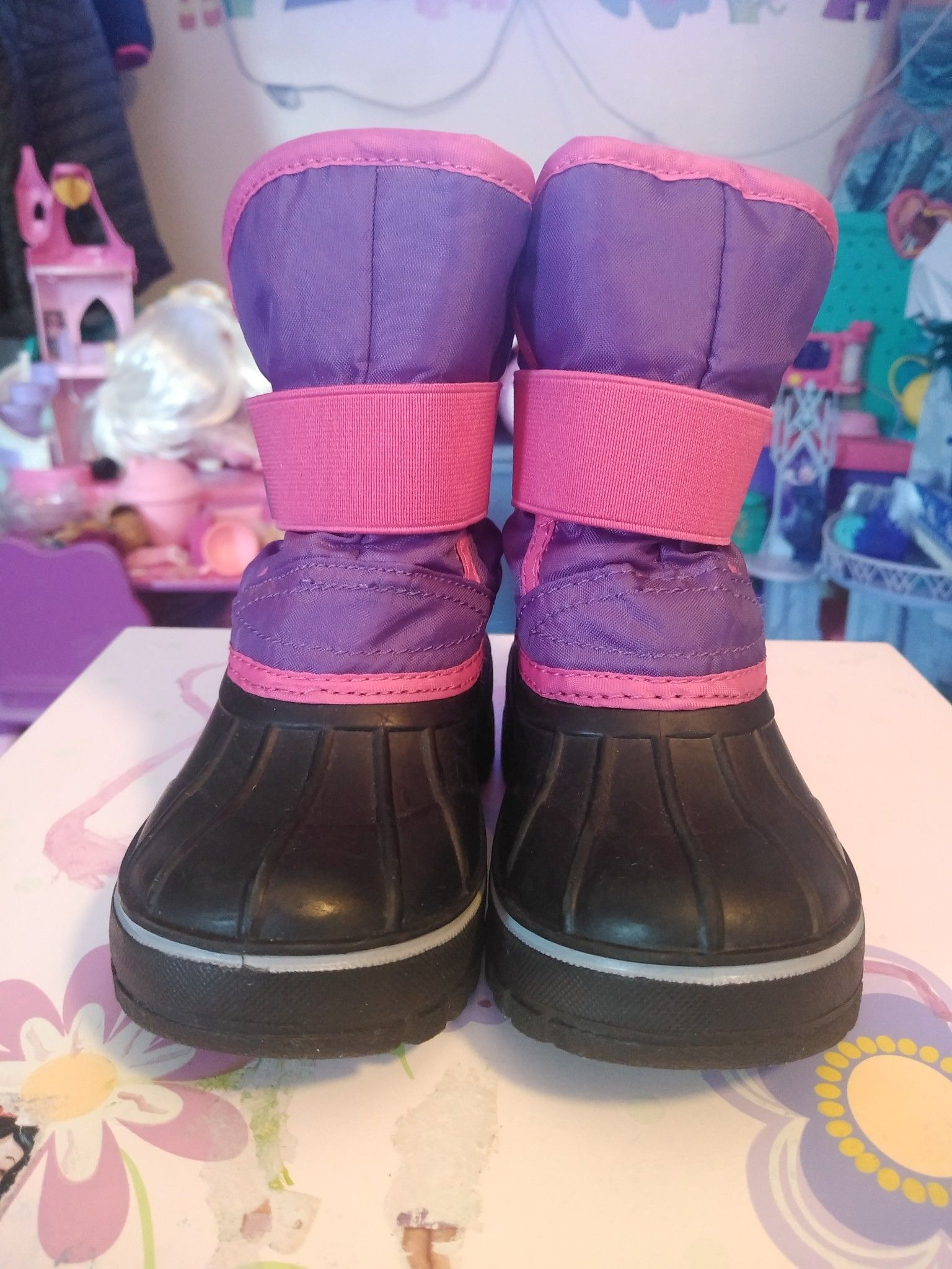 LILY & DAN Girls Toddler Winter Snow Boots Pink Purple Size 7/8 Toddler like new