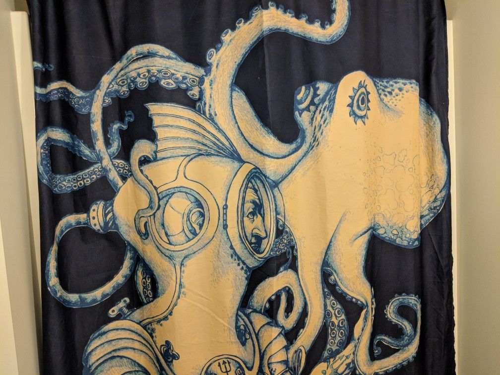 Society6 Octopus Shower Curtain Set Nautical Bathroom Decor Kraken and Scuba Diver Gold Tentacles Blue Polyester Fabric clear plasti hooks included