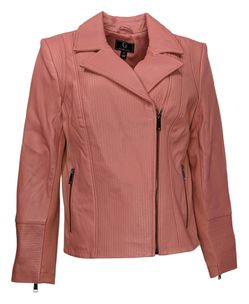 G By Giuliana Women's Sz M Genuine Leather Moto Jacket Pink 669222 Thumbnail