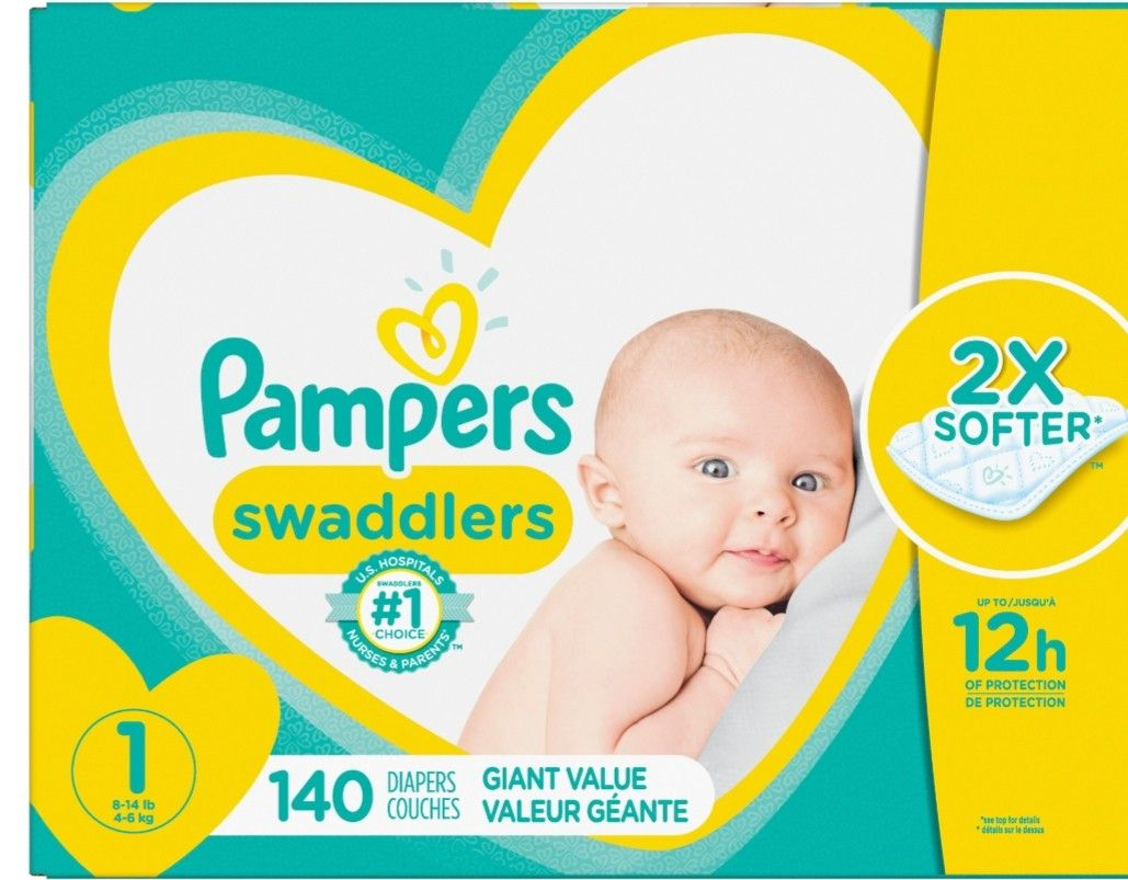 2 boxes Pampers swaddlers size newborn 140 count each box