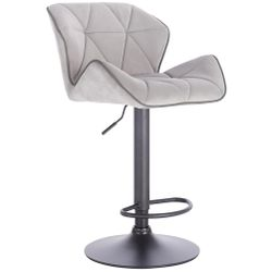 Modern Home Luxe Spyder Contemporary Adjustable Barstool/Bar Chair with 360° Rotation (Black Base, Light Gray/Dark Gray Piping) Thumbnail