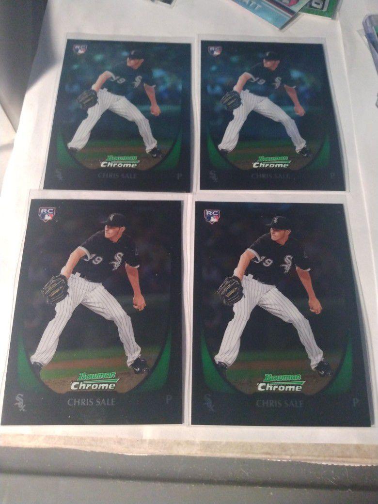 2011 Bowman Chrome Prospects Chris Sale Baseball Card Lot Of 4