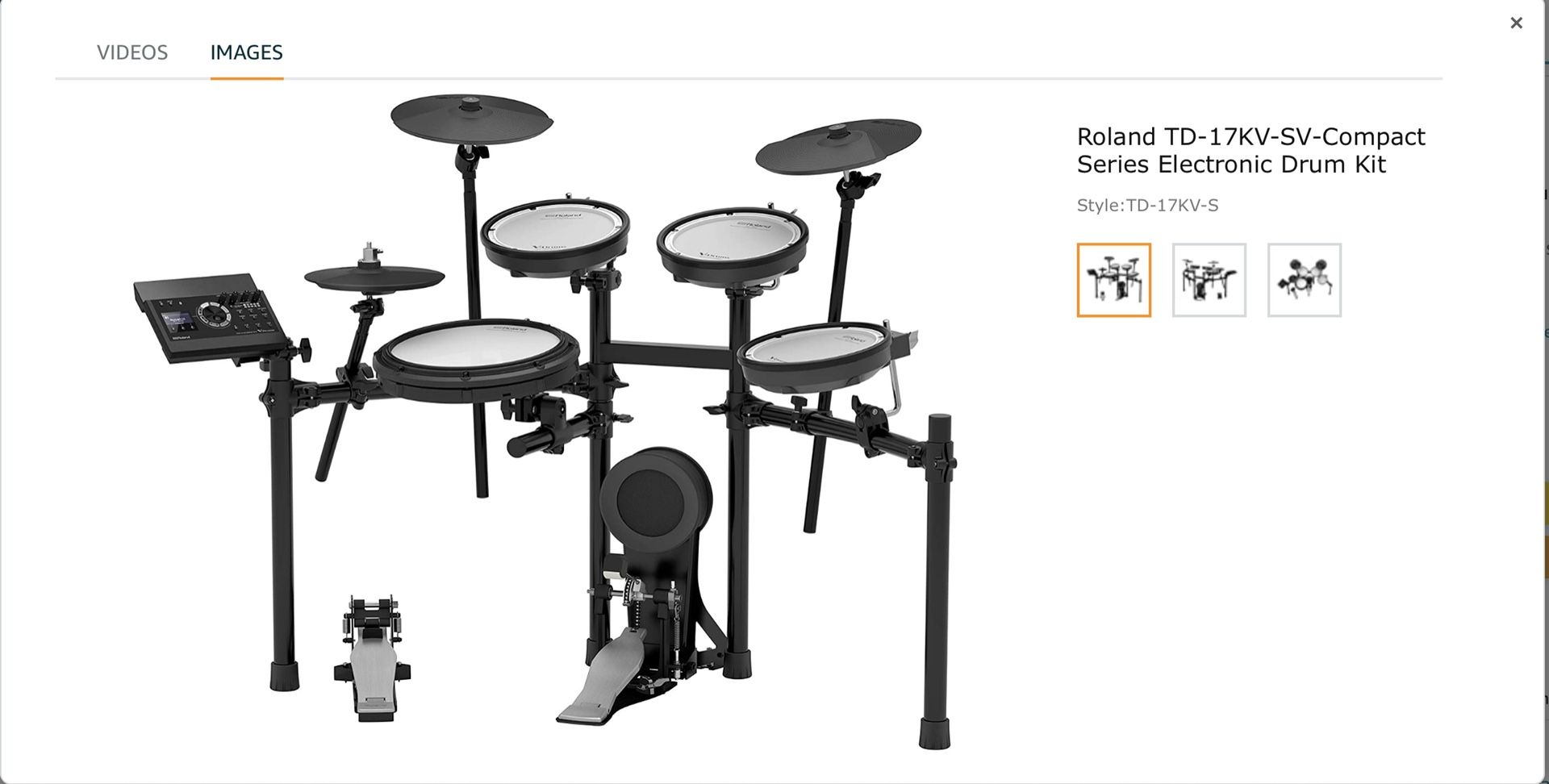 Roland Roland V-Compact Series Electronic Drum Kit, Set (TD-17KV-S) 2020 + Free Accessories Of Value 203.05 Dollars