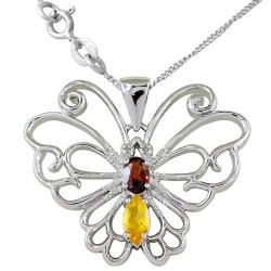 Solid 925 Sterling Silver 1.19 Carat Genuine Yellow Citrine Butterfly Pendant Thumbnail