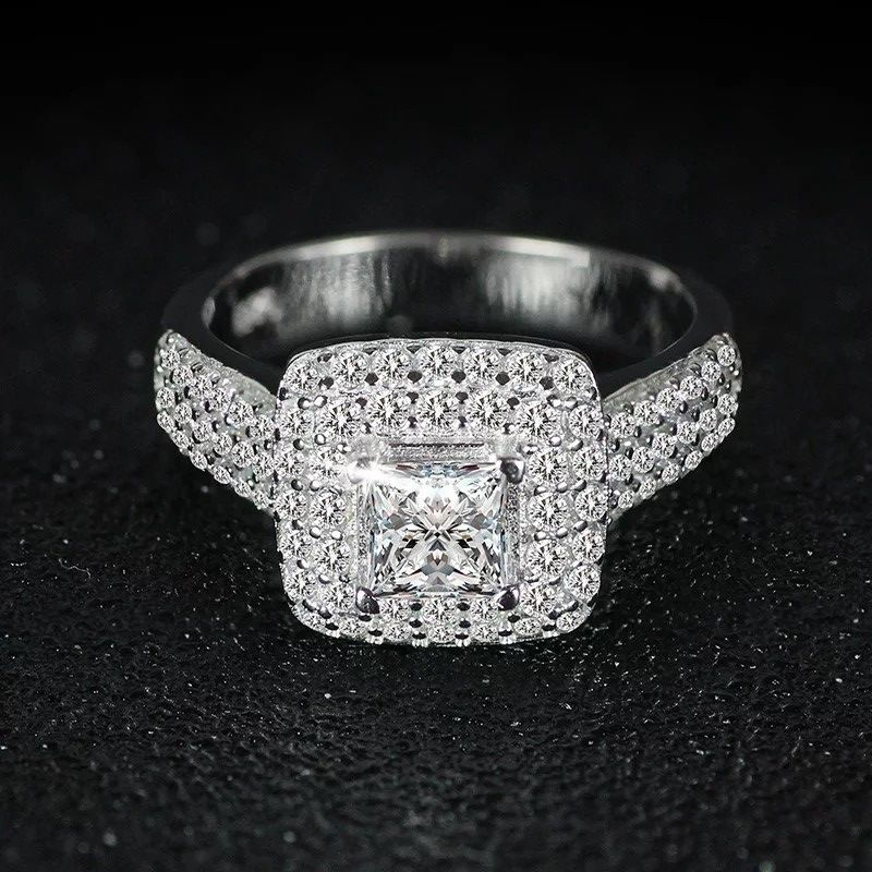 Stamped 925 Sterling ilver Wedding/promise/Engagement RING