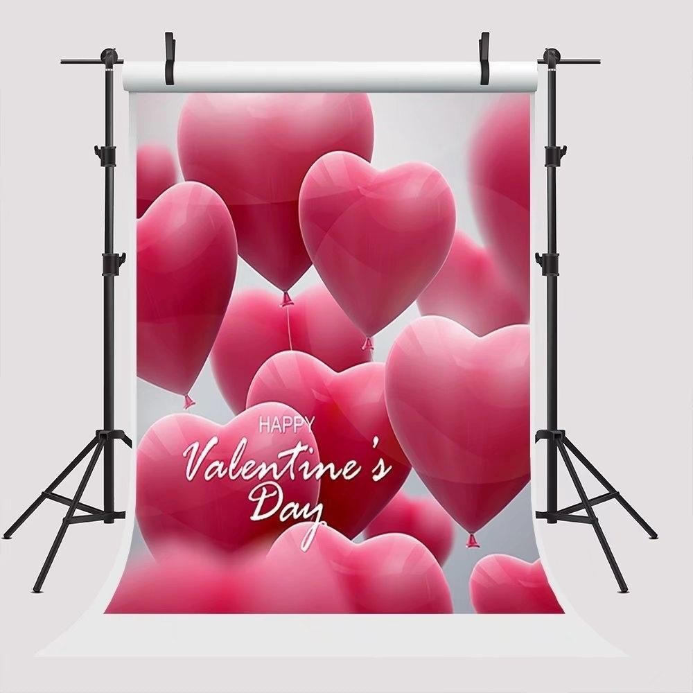 5x7ft Happy Valentine's Day Photo Background for Pictures Backdrops Pink Heart Balloon Photo Booth Props