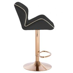 Modern Home Luxe Spyder Contemporary Adjustable Barstool/Bar Chair with 360° Rotation (Gold Base, Black/Gold Piping) Thumbnail