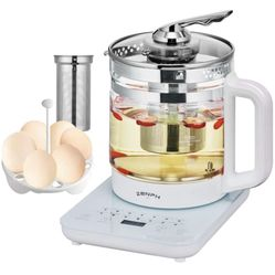 Electric Kettle, Zenph 1.5L Glass Stainless Steel Tea Kettle, Multifunction Tea Coffee Maker, Smart Touch Panel, 18 Smart Menu Hot Water Boiler with T Thumbnail