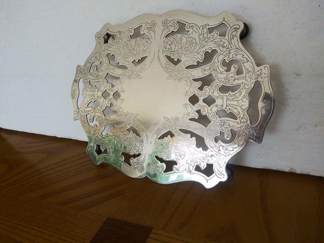 "Silver metal trivet pot holder by Crescent - 4 legs - 6 3/4"" x 9"""