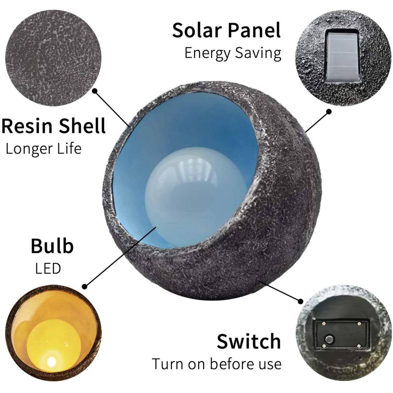 Solar Lights Outdoor Decorative, Resin Dinosaur Egg Solar Powered Outdoor Lights Decor, Waterproof Amber LED Landscape Lighting for Garden Patio Porch