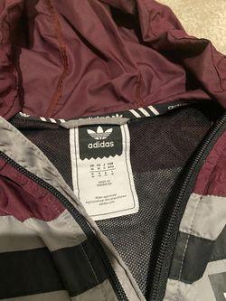 Adidas Grey/Burgundy Windbreaker Hoodie Jacket Size Medium Thumbnail