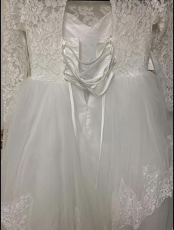 New White Wedding /Pageant Dress With Sequins In Middle / Lace Sleeves Size  Youth 12/14 Thumbnail