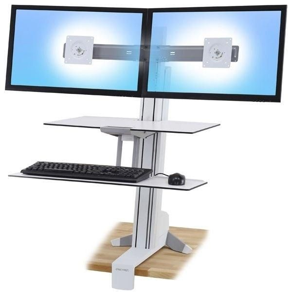 Dual Monitor Sit-Stand with Worksurface Plus - White