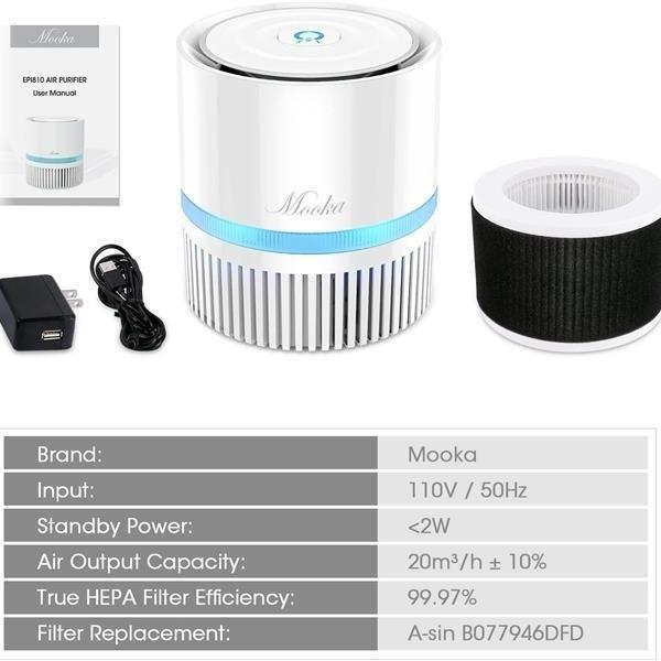 Mooka EPI810 3-in-1 True HEPA Air Purifier for Home
