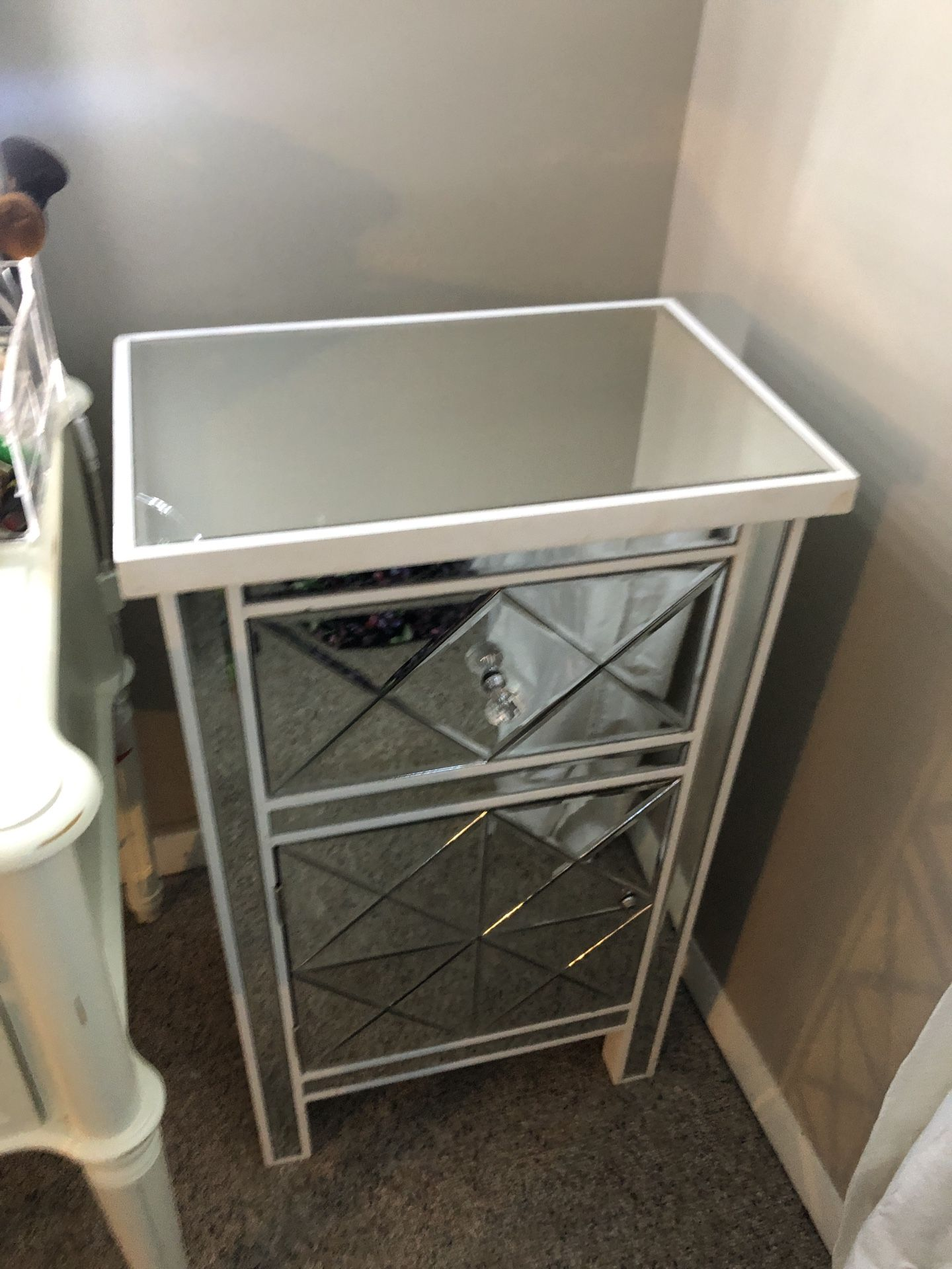 Glass Mirror Night Stand/makeup Table