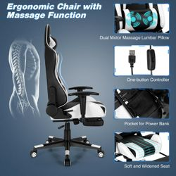 Gymax Massage Gaming Chair Adjustable Swivel Computer Office Chair w/ Footrest Thumbnail