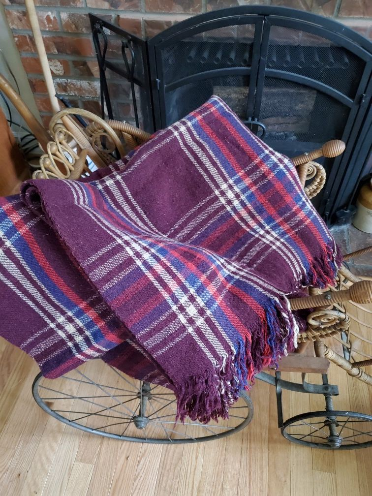 Vintage wool stadium blanket or throw
