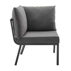 Riverside 2 Piece Outdoor Patio Aluminum Sectional Sofa Set, Gray Charcoal Thumbnail