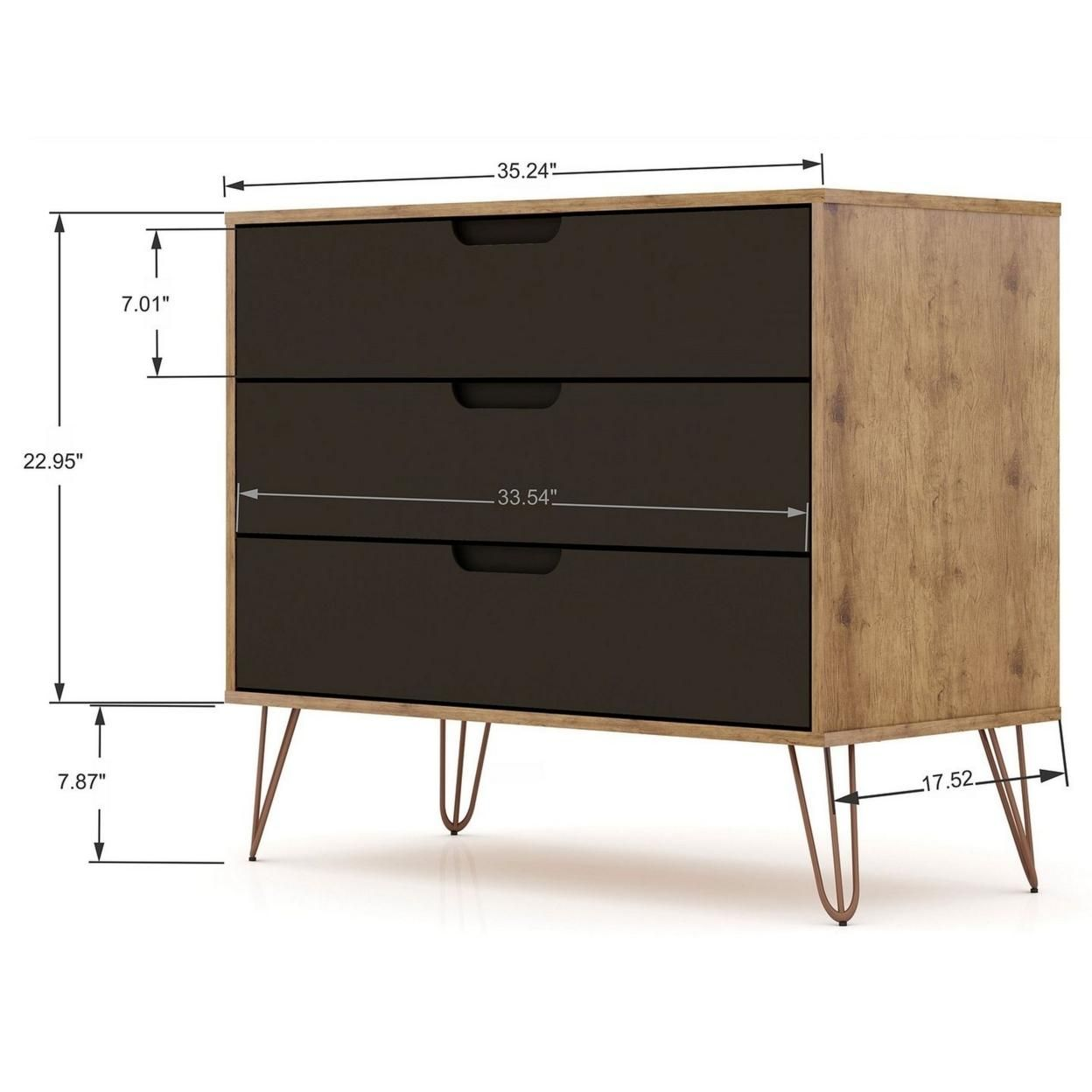 Rockefeller Mid-Century- Modern Dresser with 3- Drawers in Nature and Textured Grey