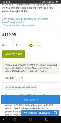 Honeywell Compact Tower Air Purifier (Got 2 of these msg if want both) Thumbnail