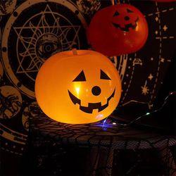 Halloween Decorations (20 Halloween Pumpkin LED Light Up Balloons With Pump) Thumbnail