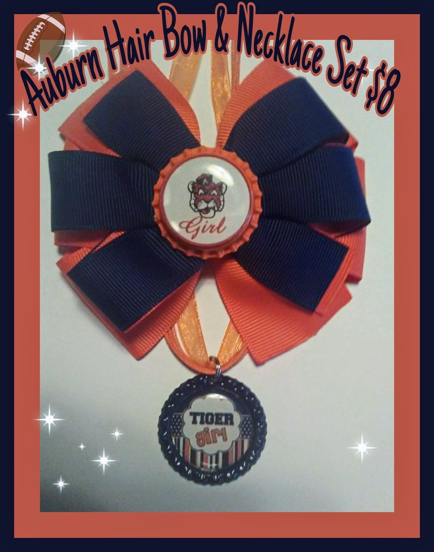 Auburn Tigers inspired hair bow and necklace set