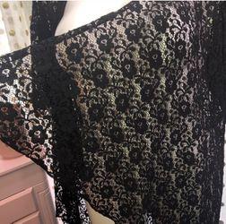 LuLaRoe Size Large Black Fringe Open Front Sweater Cardigan  Thumbnail