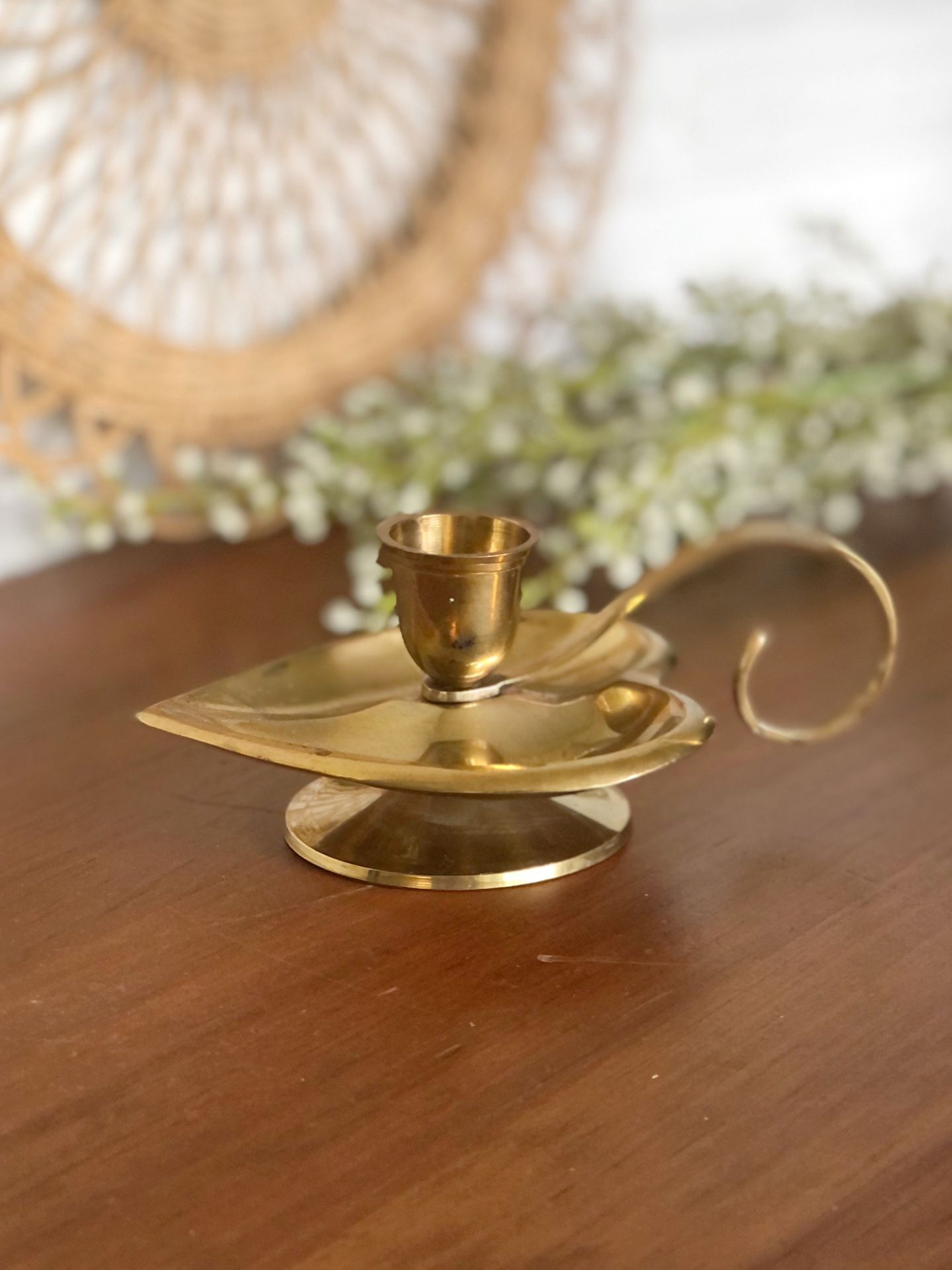 """Vintage brass heart candle holder with handle / 5.5""""x3.5"""" (including handle)"""