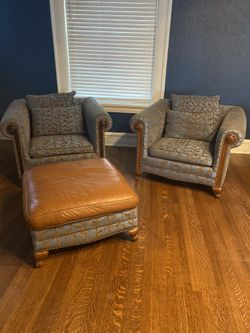 Upholstered Sofa Chairs/Arm Chairs And Ottoman Thumbnail