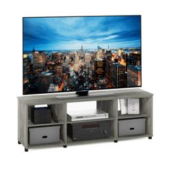 Furinno Montale TV Stand with Shelves for TV up to 65 Inch, French Oak Grey Thumbnail