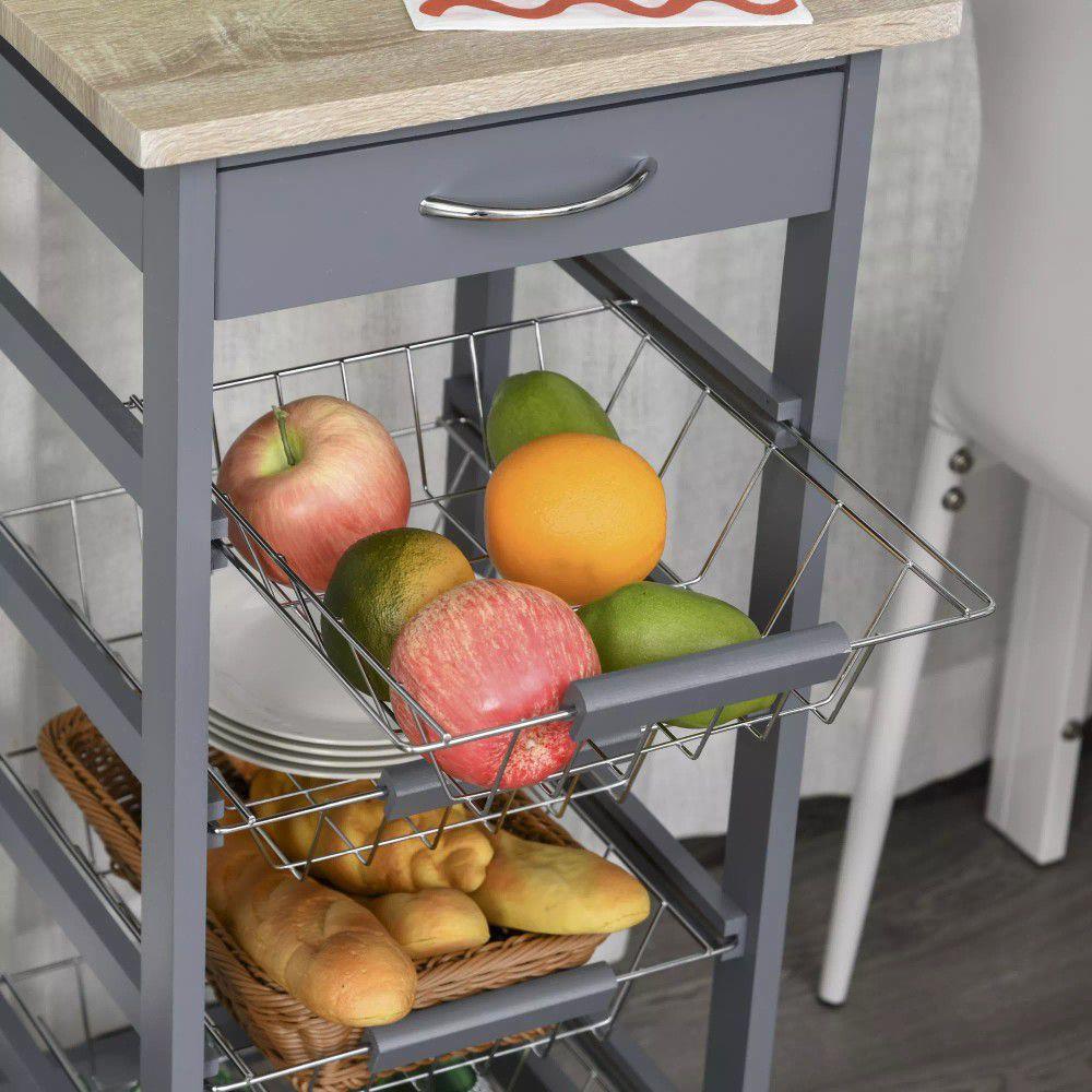 Rolling Kitchen Storage Cart on 360° Wheels