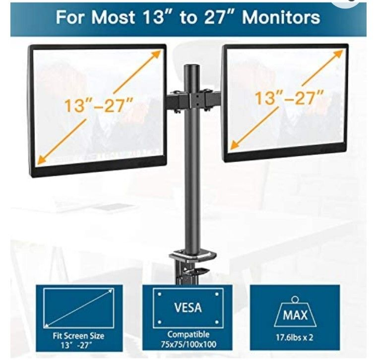 Double Monitor Stand - Dual Monitor Mount Desk Arm with C Clamp, Grommet Mounting Base for Two 13-27 Inch LCD Computer Screens - Each Holds up to 17.6