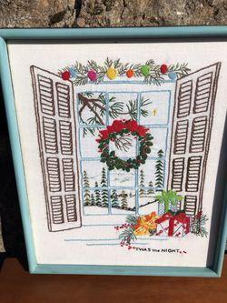 Framed Vintage Christmas Needlepoint 17 x 20 1/4 Thumbnail
