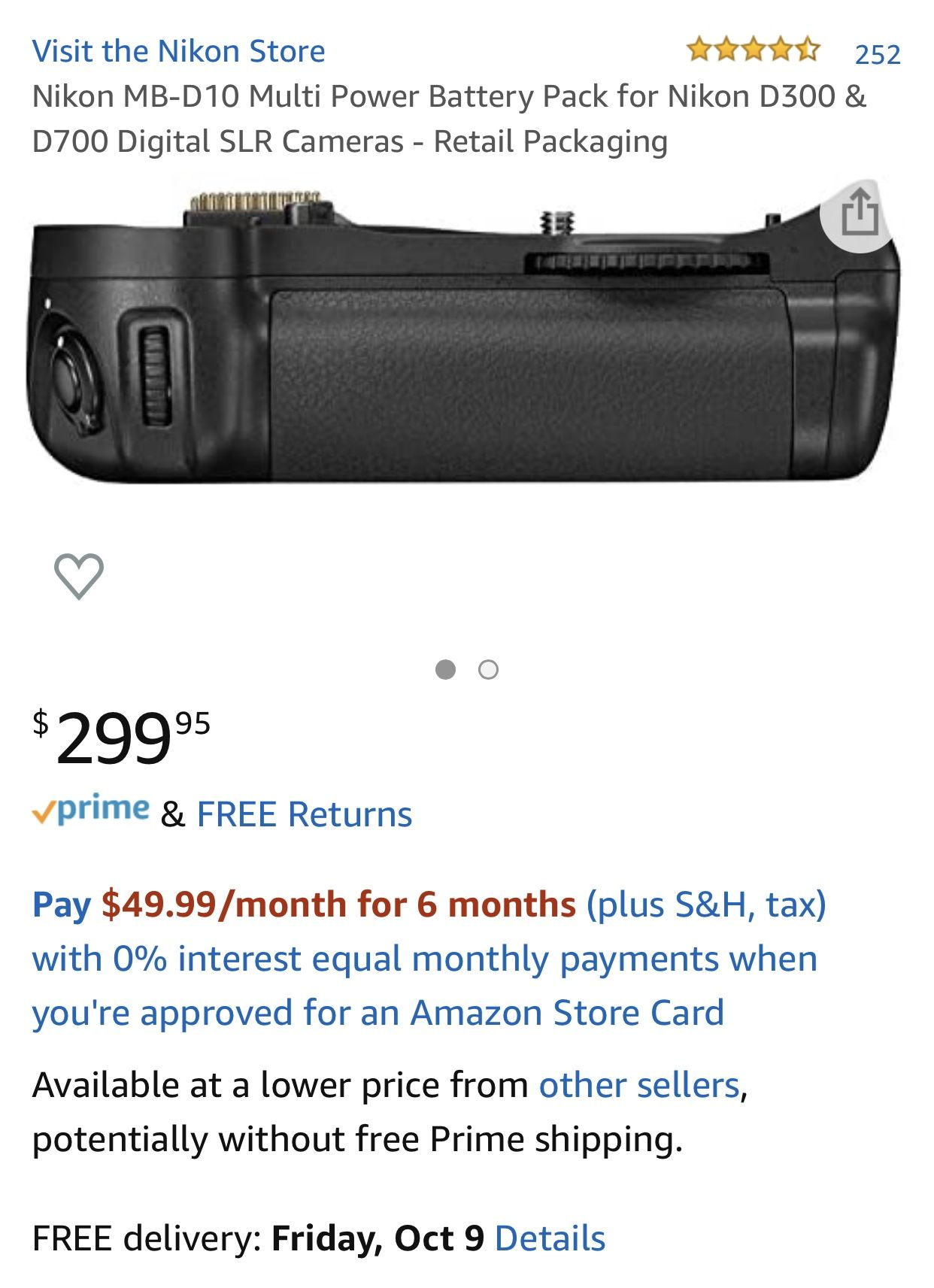 Nikon D300S DX DSLR camera Body w/ Battery Grip📸
