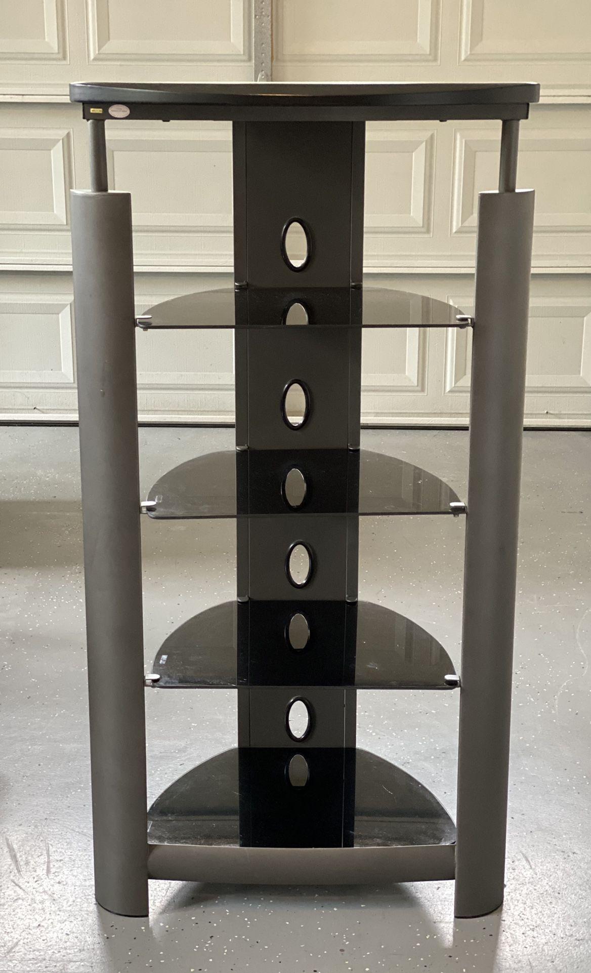 Media Stand W/Glass Shelves