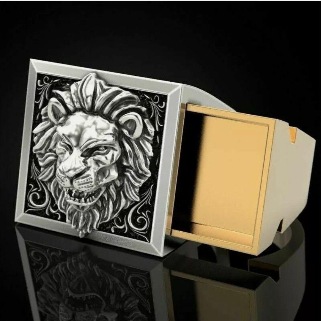 Men's Lion Two Tone 925 Silver Ring