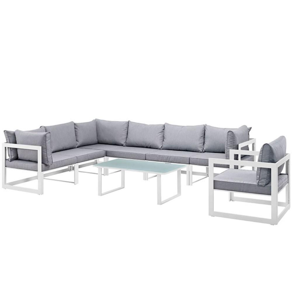 """Fortuna 8 Piece Outdoor Patio Sectional Sofa Set, White Gray Size : 90""""Lx150""""Wx32.5""""H"""